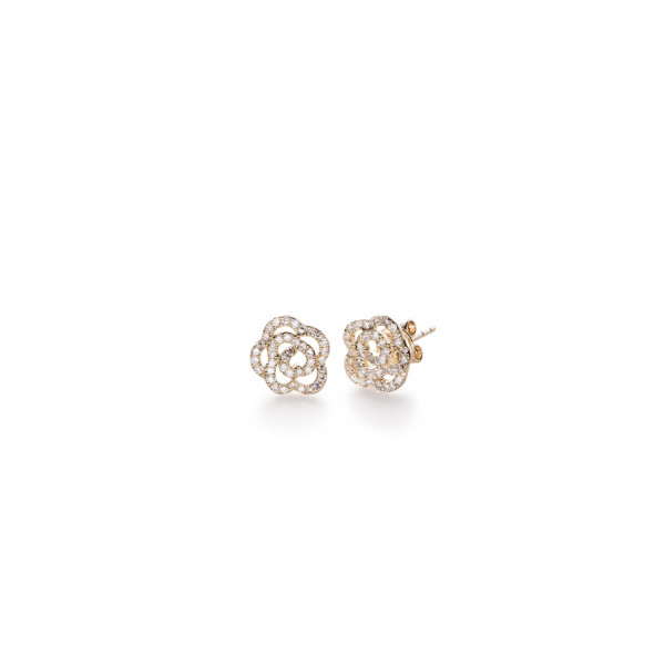 14k Yellow Gold Rosette Diamond studs