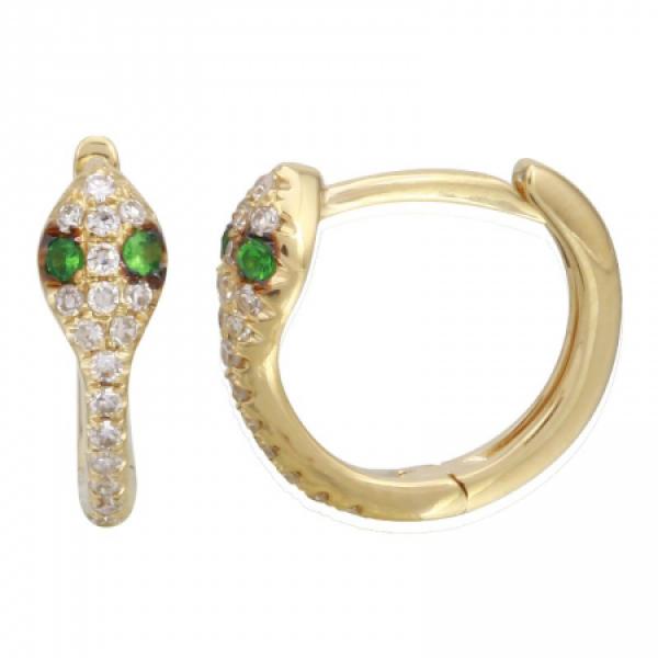 14k Yellow Gold Diamond Huggies w Emerald Eyes