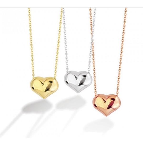 14k Mini Puff Heart Necklace