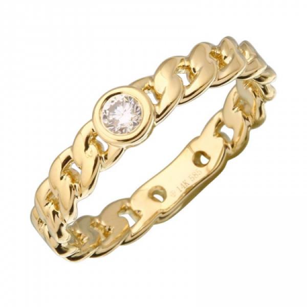 14 Yellow Gold Diamond Link Band Ring