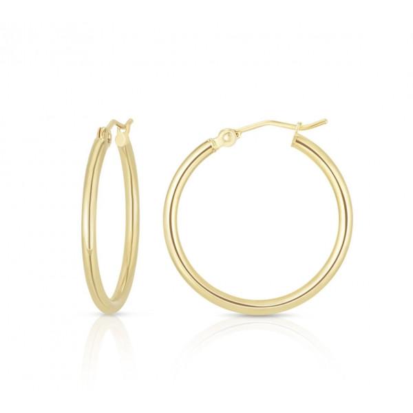 14k Yellow Gold Tube 40mm Hoop Earrings