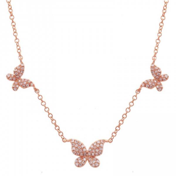 14k Triple Diamond Butterfly Necklace