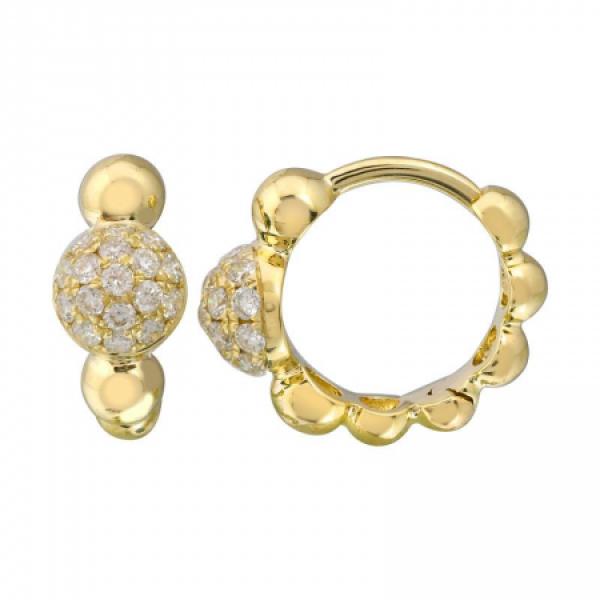 14k Yellow Gold Diamond Ball Huggie