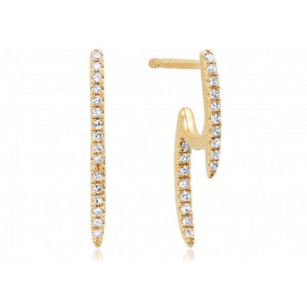 14K Front & Back Diamond Stick Earrings