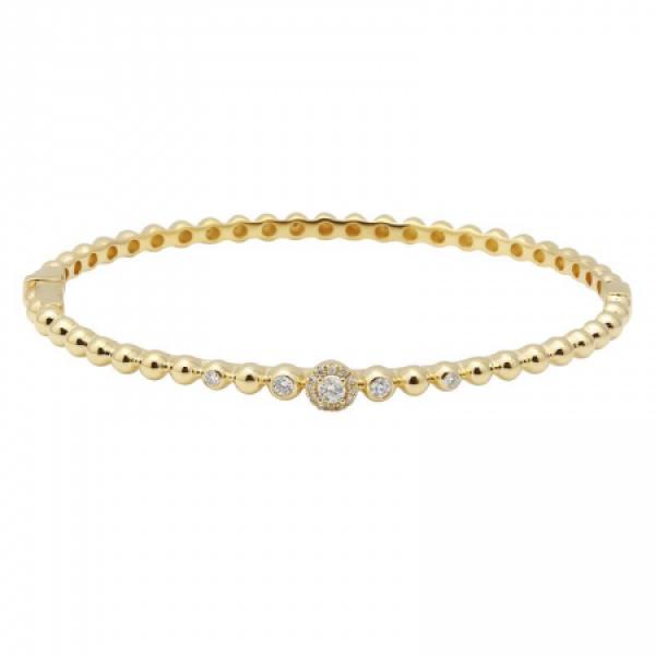 14k Yellow Gold Diamond Ball Bangle