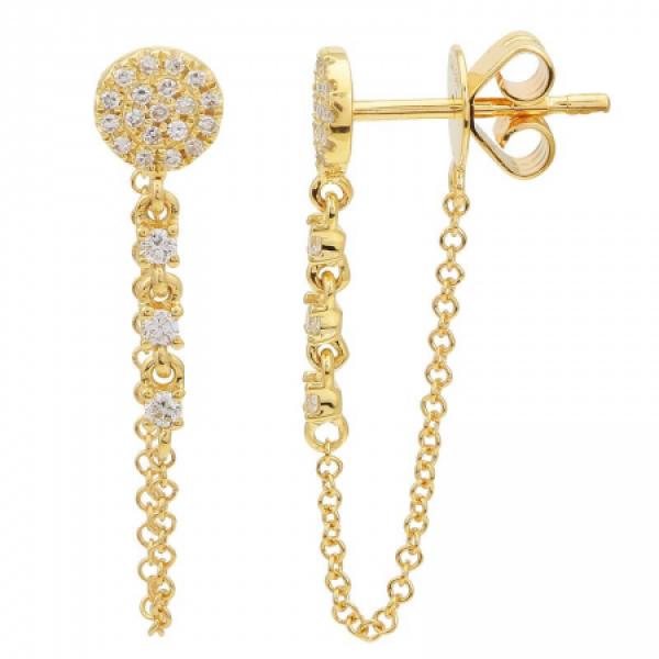 14k Yellow Gold Diamond chain earring