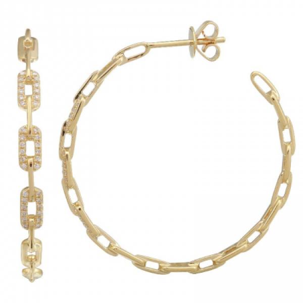 14k Yellow Gold Diamond Chain Hoop Earring