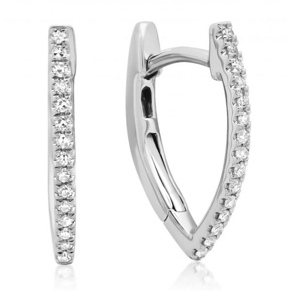 14k White Gold Diamond Huggie