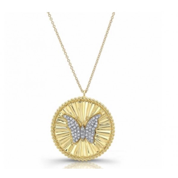 14k Yellow Gold Diamond Butterfly Disc Necklace