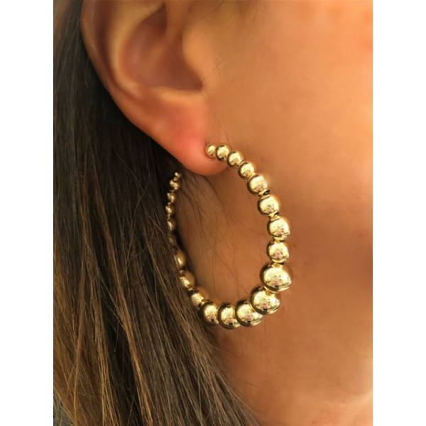 Gold Plated Ball Hoop Earring