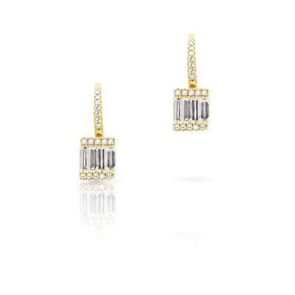 14k Yelow Gold Diamond Baguette Drop Earring