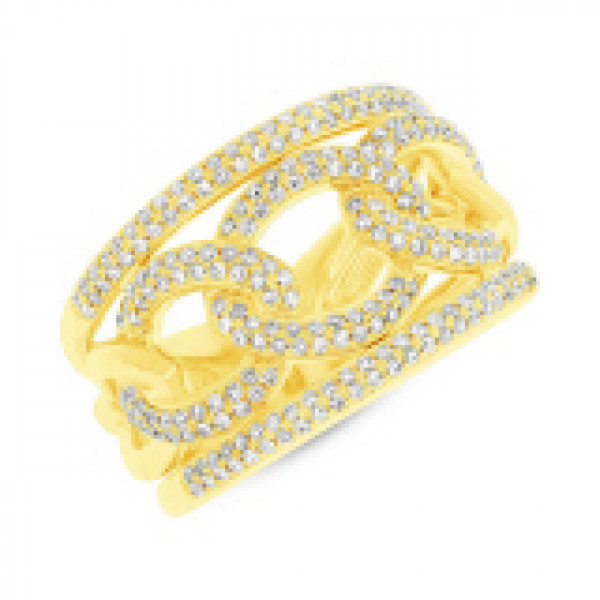 14k Yellow Gold Pave Ring