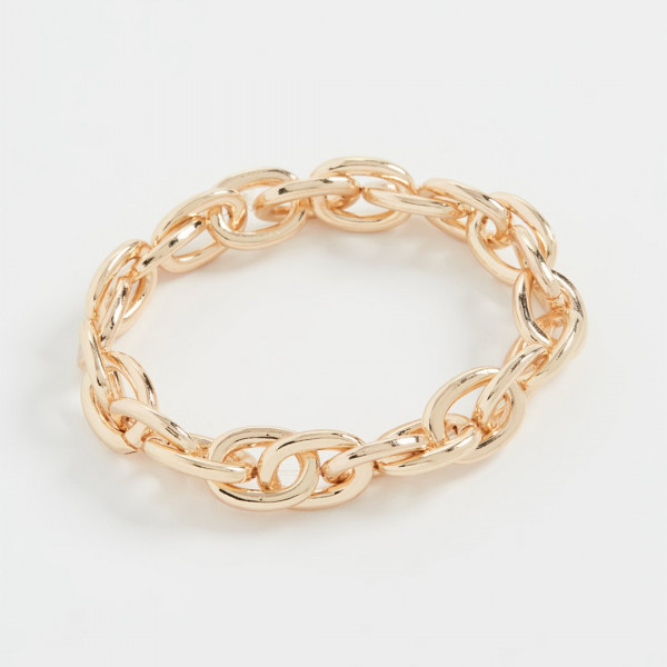 24k Yellow Gold Plated Stretch Link Bracelet