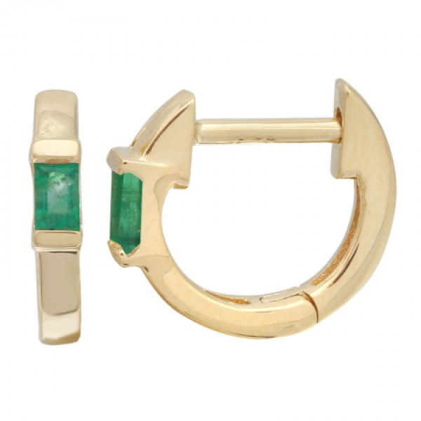 14k Yellow Gold Emerald Huggie Earring