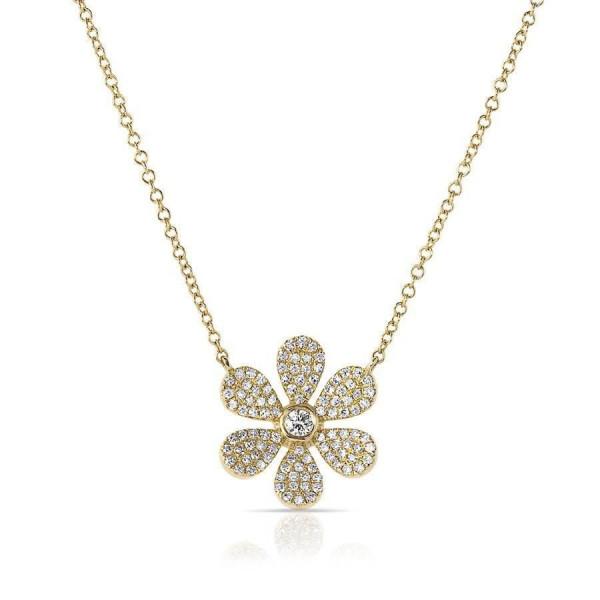 14k Yellow Gold Diamond Daisy Flower Necklace