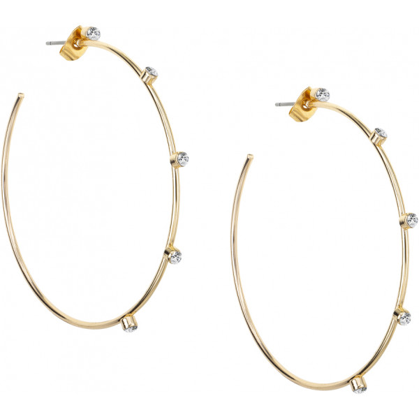 Gold Plated Hoops with Crystals