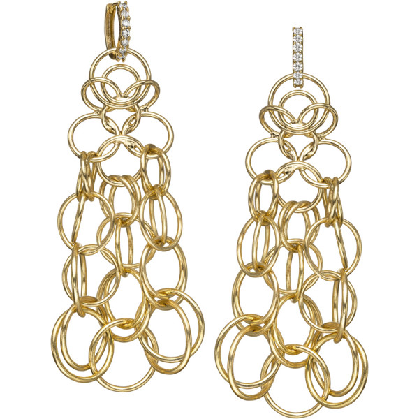 Gold Plated link  Earring on CZ Huggie