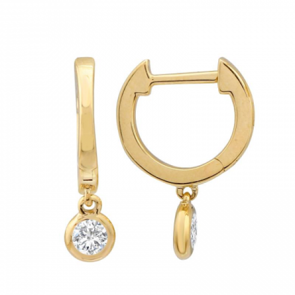 14k Yellow Gold Diamond  Dangle Earring