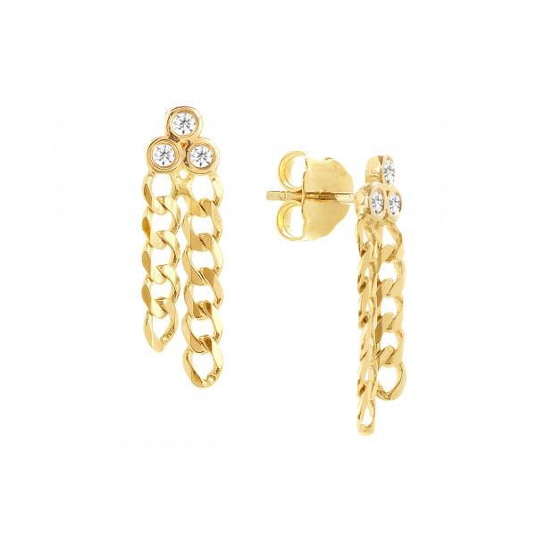 14k Yellow Gold Diamond Chain Earrings