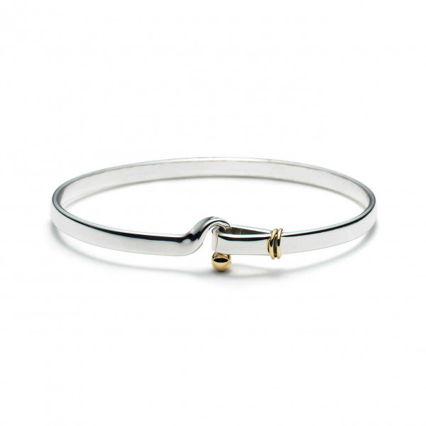 Tiffany Sterling Silver Hook & Eye Bangle with 14K Gold Detail