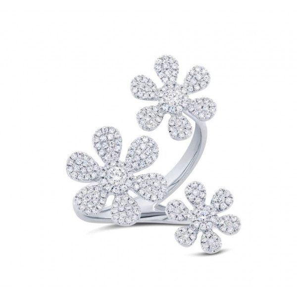 14k White Gold Diamond Floating Flower Ring