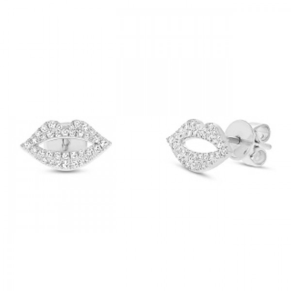 14k White Gold Diamond Pave Lips Stud Earrings