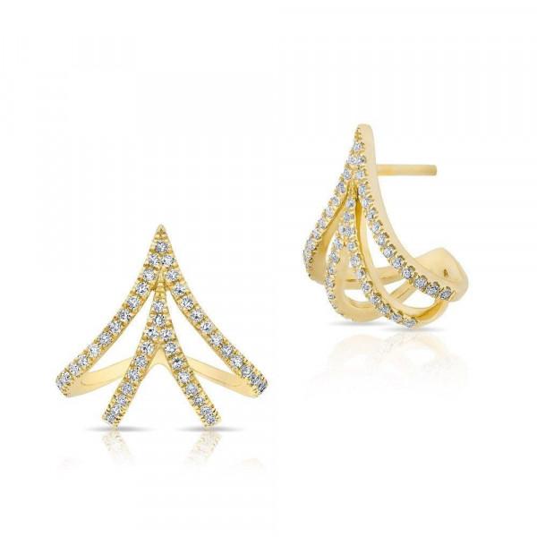 14k Diamond Fashion Huggie Earring
