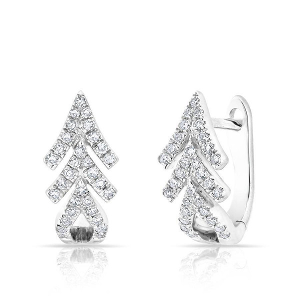 14k White Gold Diamond Arrow Huggie Earrings