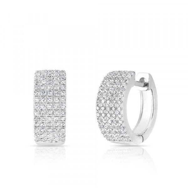 14k White Gold Pave Diamond Huggie earrings