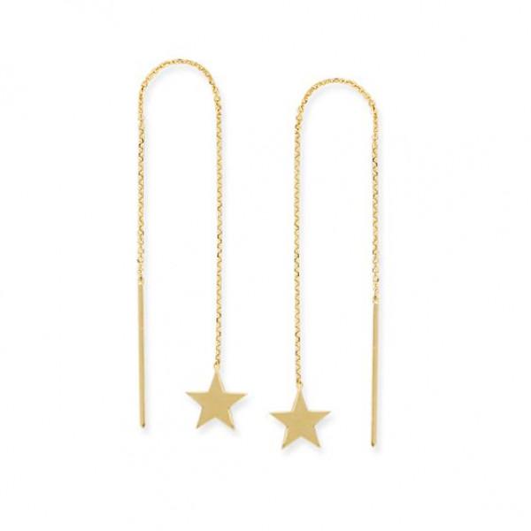 14k Yellow Gold Star Threaders earrings
