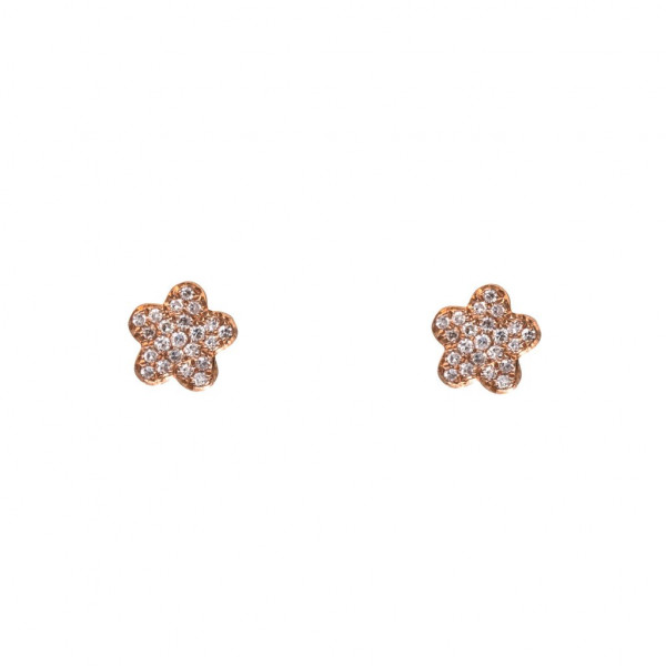 14k Mini Diamond Flower Studs