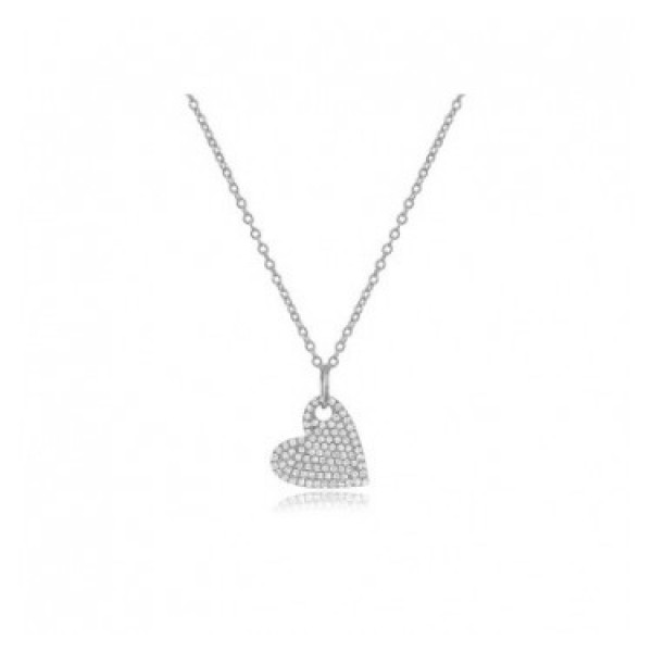14k White Mini Diamond Heart Necklace