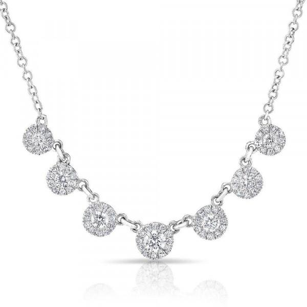 14k White Gold Diamond Circle Drop Necklace