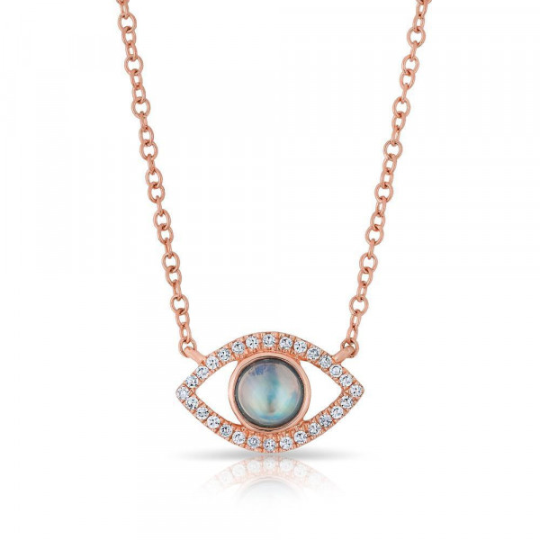 14k Rose Gold Diamond Evil Eye w Moonstone Necklace