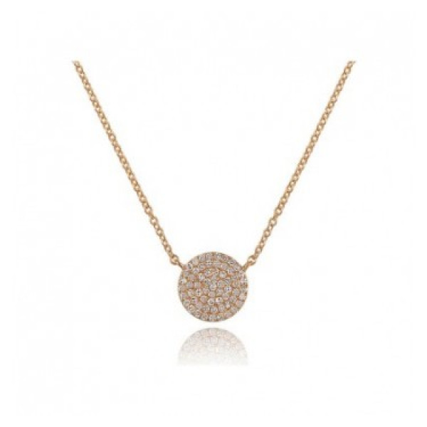 14k Yellow Gold Diamond Pave Disc Necklace