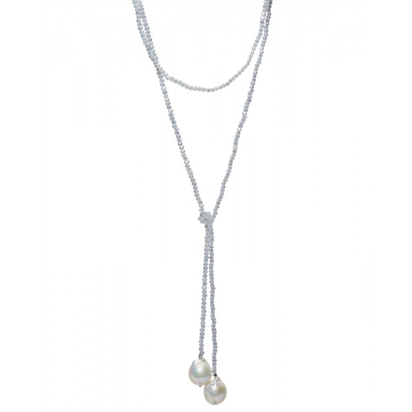 Beaded Light Blue  Crystal Lariat w Baroque Pearls