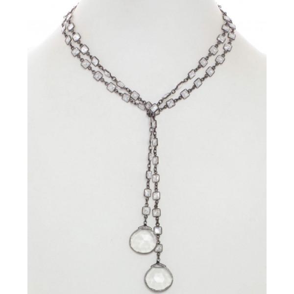 38' Sterling Silver CZ Wrap Necklace w Clear Quartz Drops