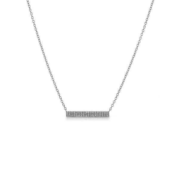 Sterling Silver Oxidized Diamond Bar Necklace