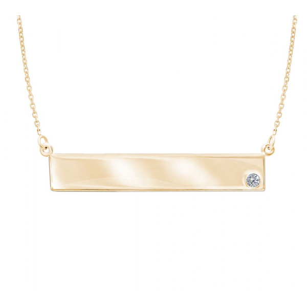 14k Yellow Gold Name Plate w Diamond