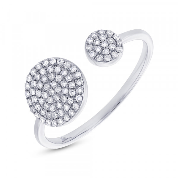 14 White Gold Diamond Double Pave Circles Ring