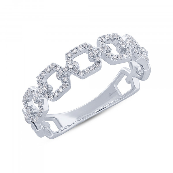 14k White Gold Diamond Link Ring