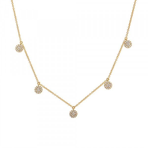 14k Yellow Gold Amp Pave Diamond Multi Disc Necklace