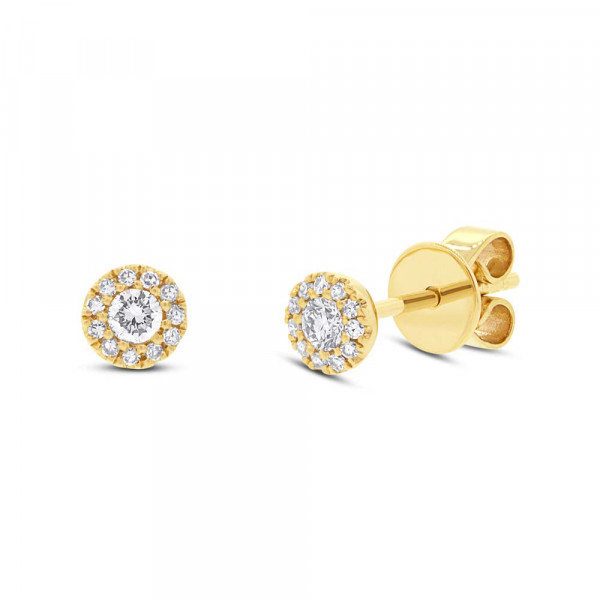 14 K Yellow Gold Diamond Pave Earring
