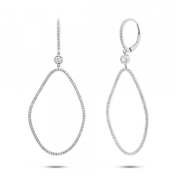 14k White Gold Organic Shape Diamond Earrings