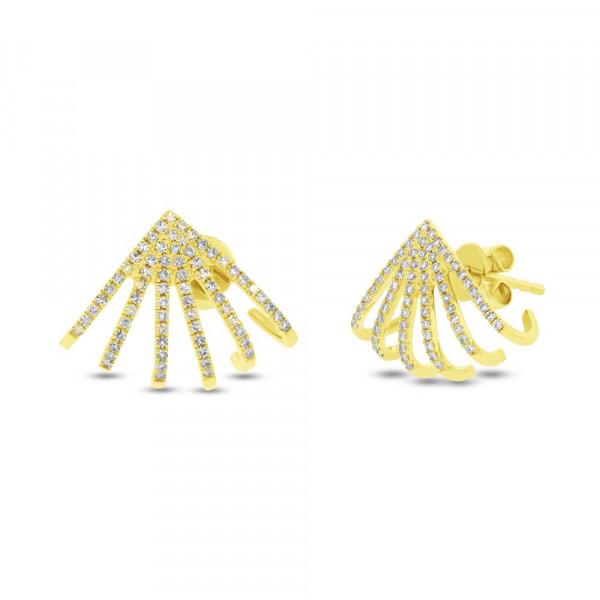 14k Yellow Gold Diamond Pave Huggie