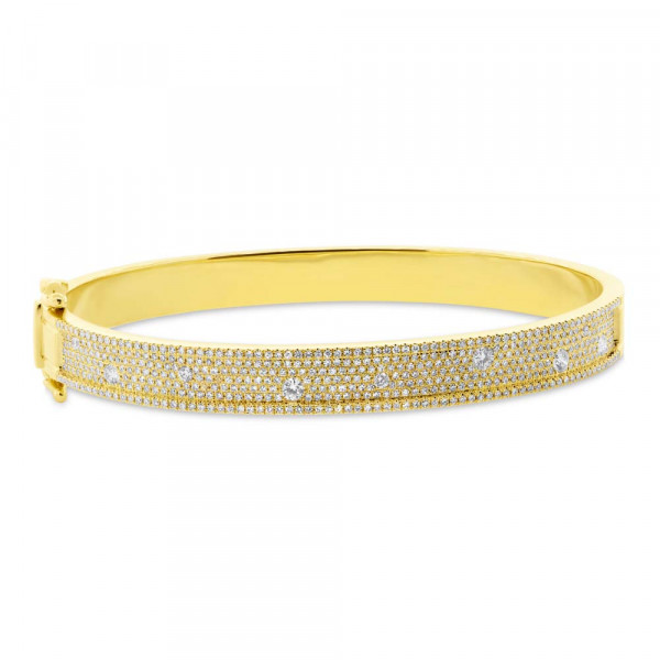 14k Pave Diamond Bangle w Diamonds Burnished