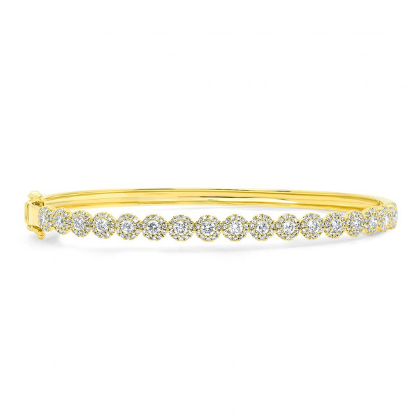 14k Diamond Circle Bangle Bracelet