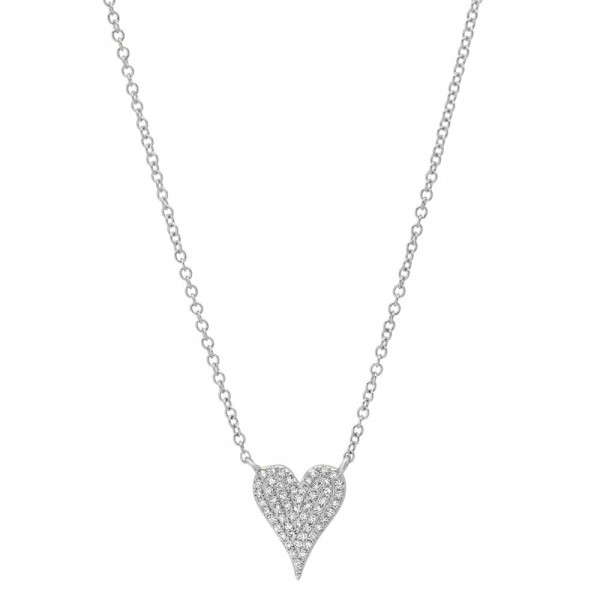 14k Mini Diamond Pave Heart Necklace