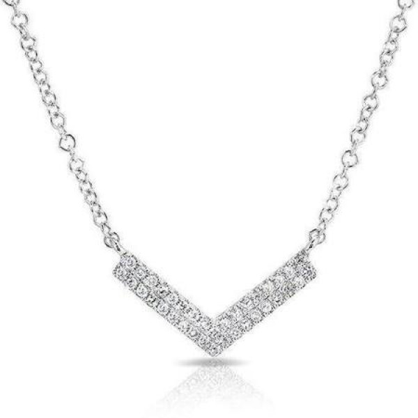 14k White Gold Diamond Mini Chevron Necklace
