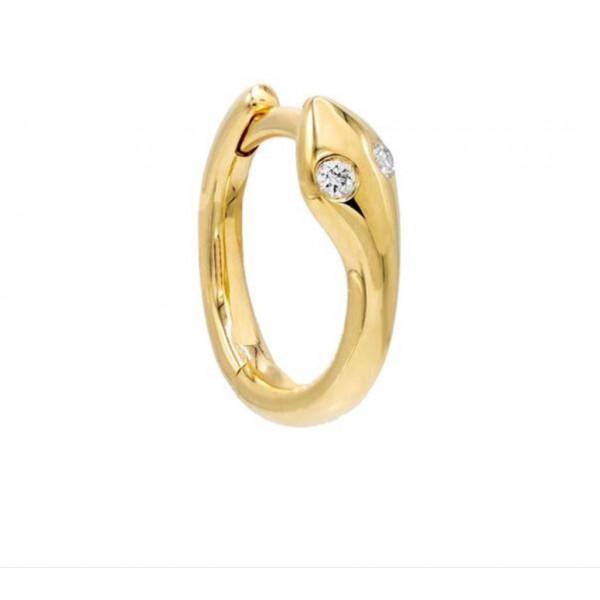 14k Yellow Gold Snake Huggie w Diamond Earrings